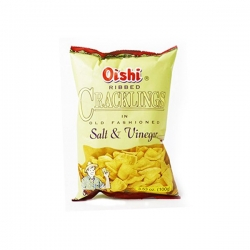 OISHI RIBBED CRACKLINGS SALT & VINEGAR 100G